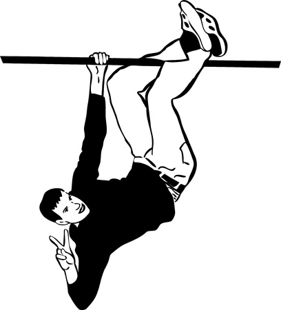 sketch of a guy hanging upside down on the tube Vector