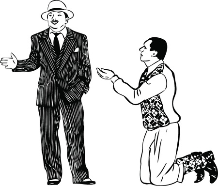 a man on his knees asking the men in striped suit Vector