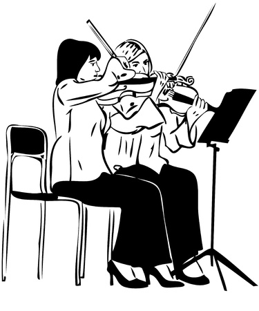 Sketch of two girls playing on the fiddle photo