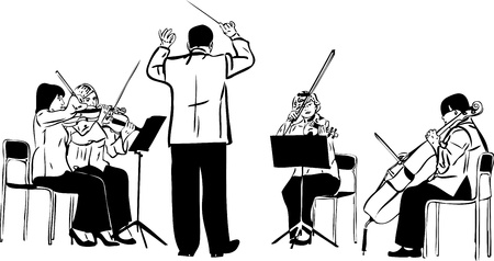 a sketch of a string quartet with derezherom Stock Photo