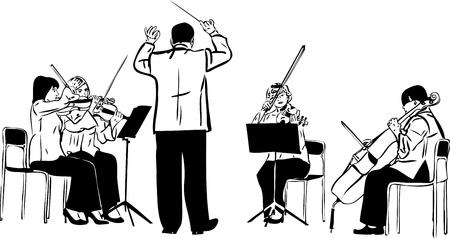 a sketch of a string quartet with derezherom Stock Photo