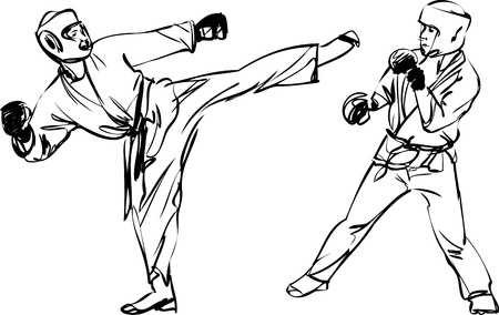 back belt: Karate Kyokushinkai sketch martial arts and combative sports