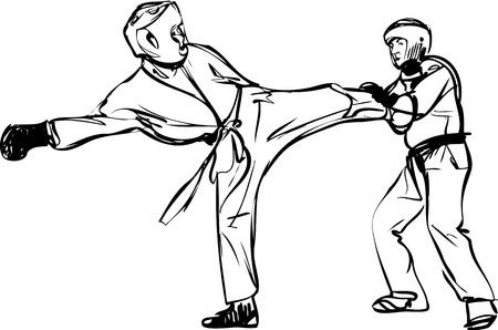 back belt: Karate Kyokushinkai artes marciales y dibujo deportes de combate Vectores