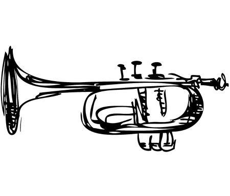 un boceto de cobre Cornet Instrumento musical