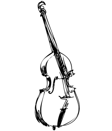 húros: egy húros hangszer zenekar nagy hegedű basszus Illusztráció