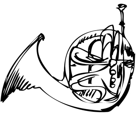 symphony orchestra: sketch of the copper horn musical instrument