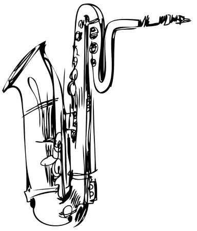 saxophone: a sketch of a brass musical instrument saxophone bass Illustration
