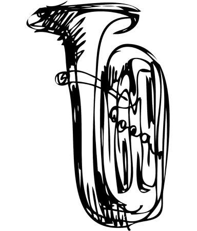 een schets van de koperen buis muziekinstrument