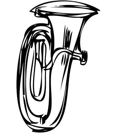tuba: a sketch of the copper tube musical instrument