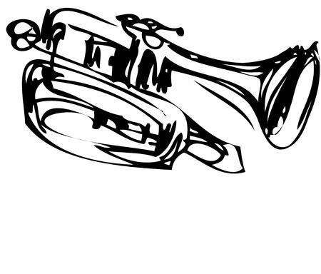 trompette: un croquis de l'instrument en cuivre Cornet Musical