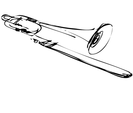 a Sketch of copper musical instrument trombone Vector