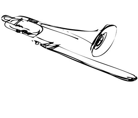 brass: a Sketch of copper musical instrument trombone