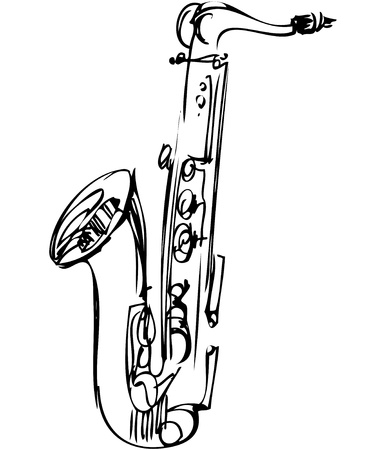 saxophone: a sketch brass alto saxophone musical instrument Illustration