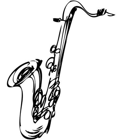 ventile: eine Skizze Messing Musikinstrument Saxophon Tenor