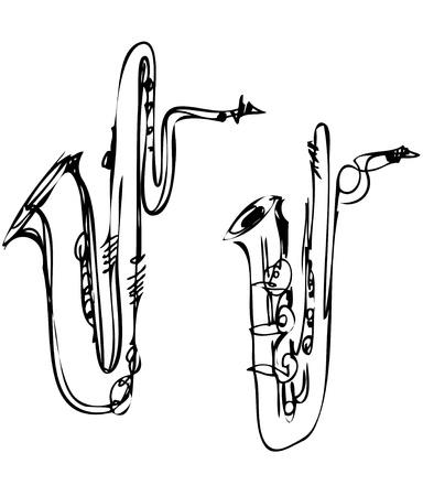 sketch brass musical instrument saxophone bass baritone Vector