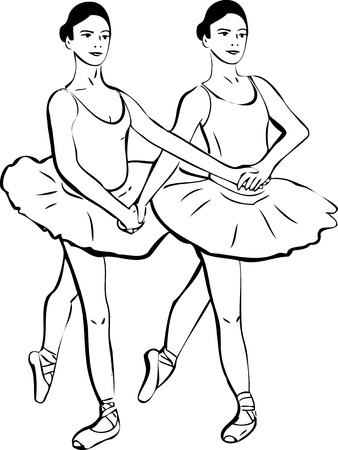sketch of two girls standing in a pair of ballerina Vector