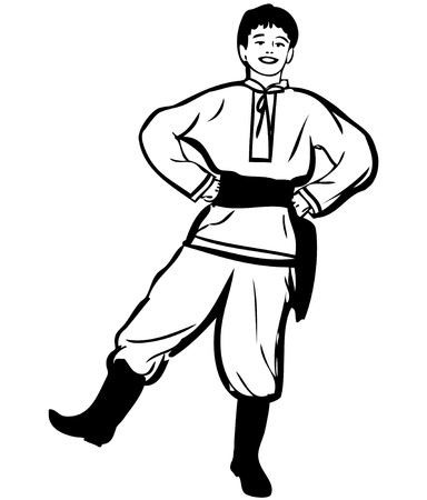 merry dancers: sketch of a guy dancing in boots trousers shirt