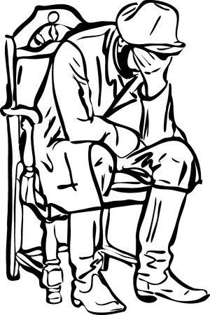 sleepy man: sketch of a man in boots sitting and sleeping in a chair