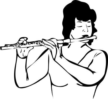 boceto de la chica que toca la flauta Ilustración de vector