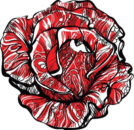 red rose with tatoo Vektoros illusztráció