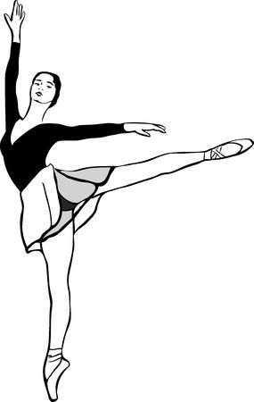 leggy: a ballerina on pointe in arabesque position Illustration