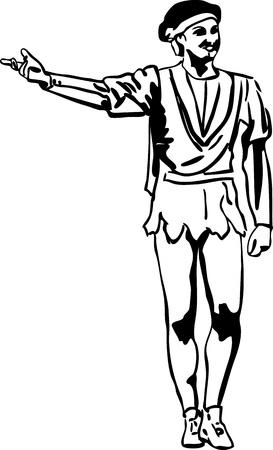 ballet hombres: boceto bailarina de ballet masculino de pie en actitud Vectores
