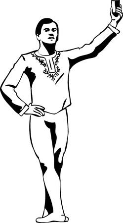 ballerina danza classica: schizzo ballerino maschio in piedi in posa Vettoriali