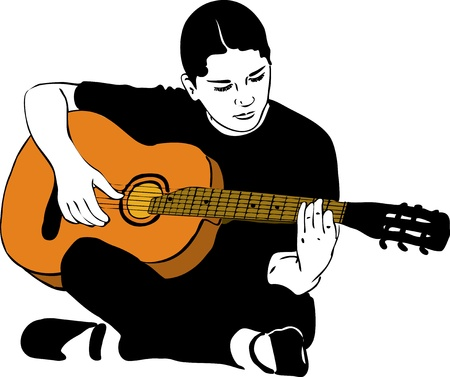 a girl playing on an acoustic guitar Vector