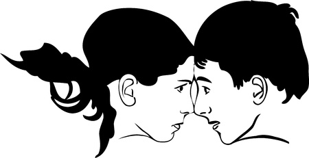 boy and girl face to face looking at each other Vector