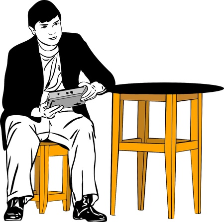 chair wooden:  a guy sitting on a stool at the table Illustration