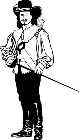mosquetero: Mosqueteros boceto en un sombrero con una espada