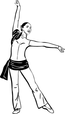 scarves: sketch of a dancing girl standing in a pose Illustration