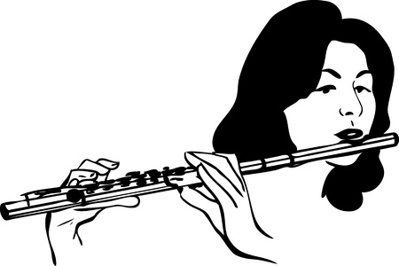 dwarsfluit: meisje speelt de wind muziekinstrument fluit Stock Illustratie