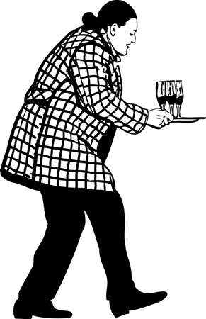 man in an overcoat carries three glasses with wine