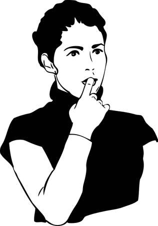 girl with a finger in to the mouth Stock Vector - 12730440