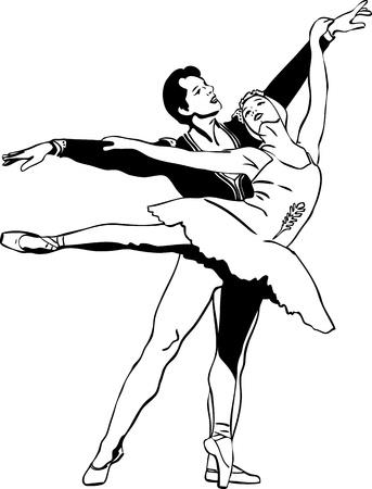swan pair: sketch ballet pair in a dancing pose Illustration