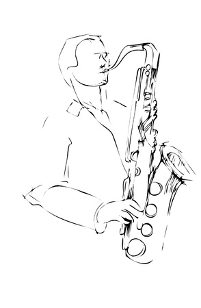 musician with a saxophone sketch arcwise Vector