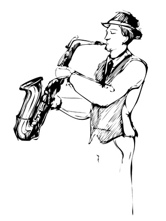 musician with a saxophone sketch arcwise Illustration