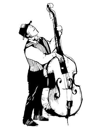 sketch of a musician on the bass viols Vector