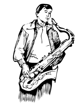 musician with a saxophone sketch arcwise Stock Vector - 12950320