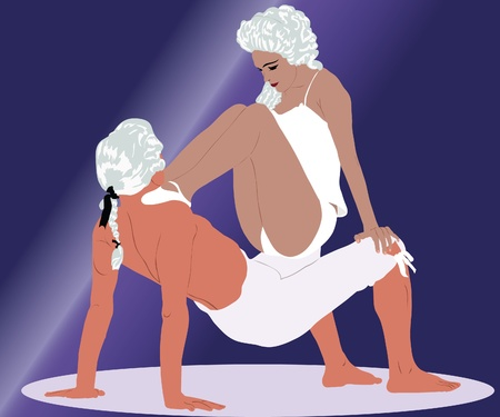 actresses: dancing couple in white wigs Illustration