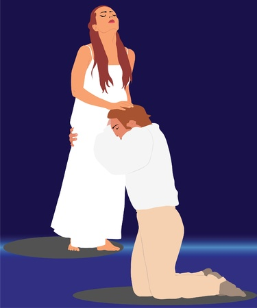 nightgown: man and woman break up the night Illustration