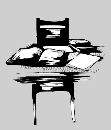 俵: テーブルを本とノートの椅子