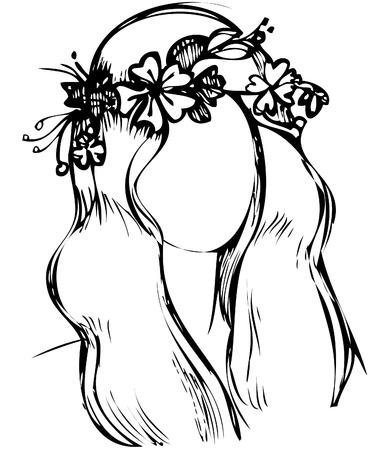 암술: 머리에 야생 꽃의 화 환을 가진 소녀
