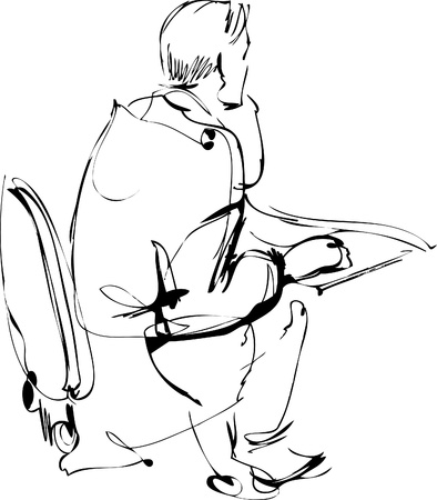 back of head: the guy sitting on a chair at the table Illustration