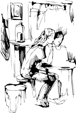 boy and girl at the table in the kitchen Vector