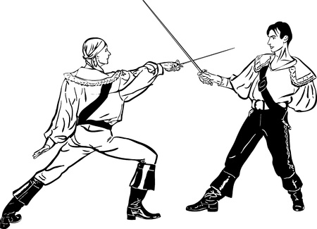 fencers: sketch of steam of fencers battle on a duel  Illustration