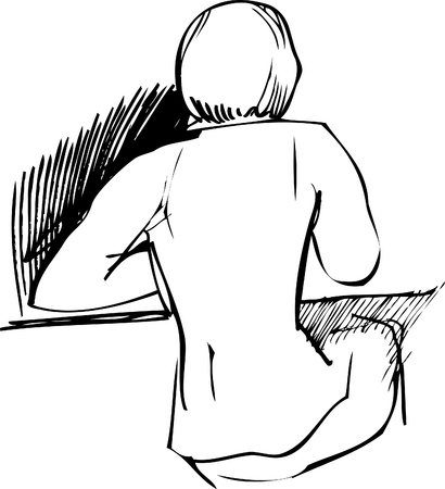 girl sitting at a table with his back to us Vector