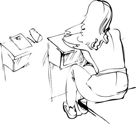 woman back of head: studentesse in un'aula a una scrivania Vettoriali