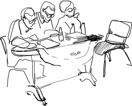 admissions: teachers with glasses sitting at a desk Illustration